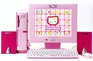 Розовый компьютер с приветливой киской