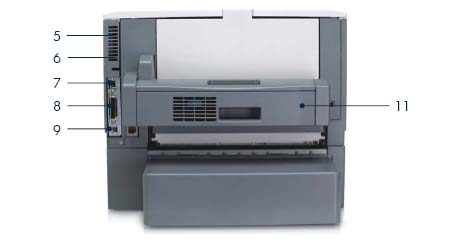 Принтер HP LaserJet 5200dtn: вид сзади