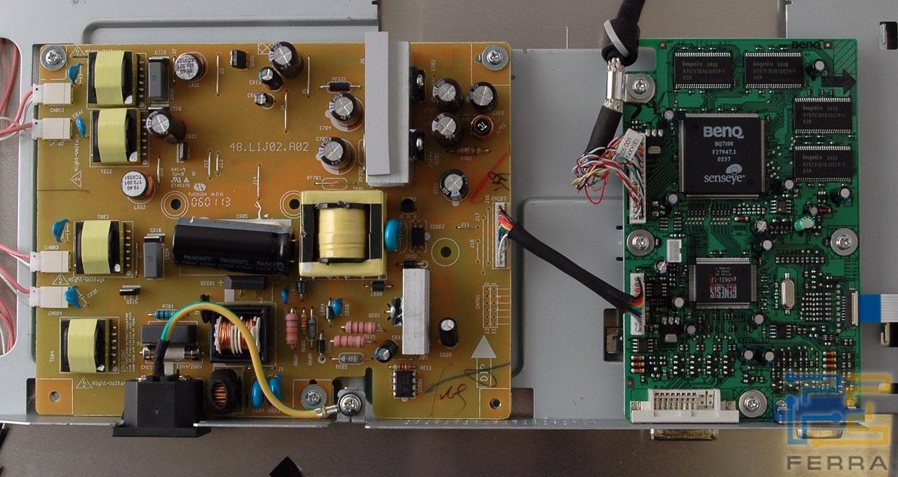 Управляющая схема (драйвер матрицы) построена на базе связки контроллеров BenQ BQ7100, управляющего матрицей...