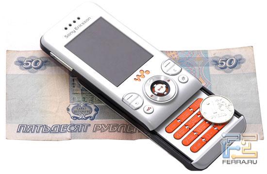 Габариты Sony Ericsson W580i в масштабе 2