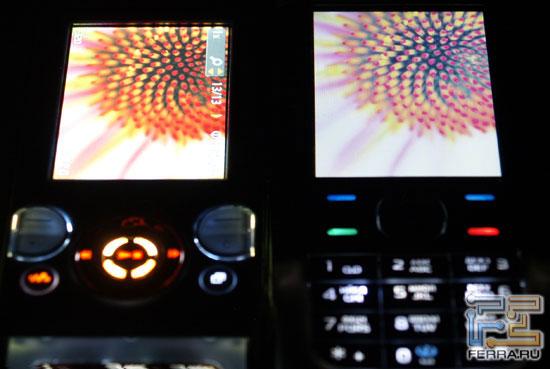 Сравнение экранов на максимальной яркости, фронтально и под углом: Sony Ericsson W580i слева, Nokia 5700 справа 2