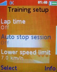 Sony Ericsson W710i: режим тренировки 3