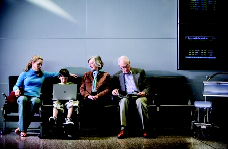 Close-up of family waiting in airport &dv5000