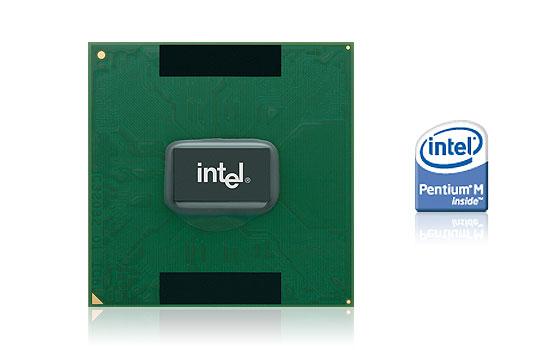 Фотография процессора и логотип Pentium M
