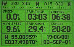 Garmin GPS III Plus - информация о движении