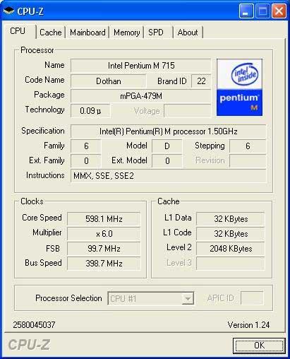 iRU Stilo 3841 - CPU-Z