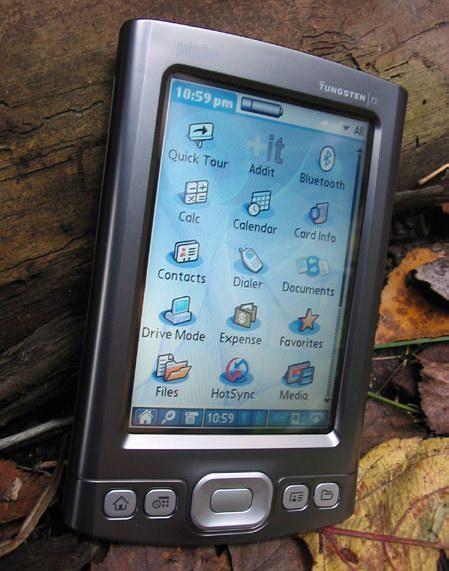 palmOne Tungsten T5 - вертикальная ориентация экрана