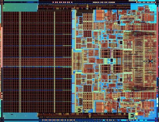 На изображении процессора видны парные структуры - подтверждение наличия двух ядер