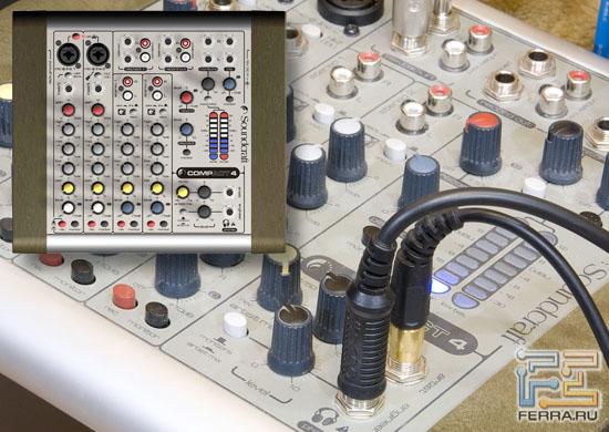 В роли усилителя для наушников выступил компактный, но довольно качественный микшерный пульт Soundcraft Compact 4...