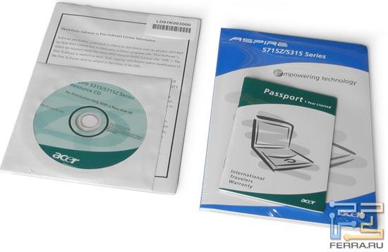 Acer Aspire 5315: комплект поставки