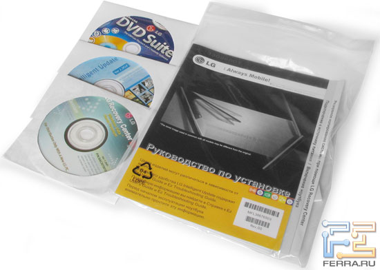 LG R405: комплект поставки