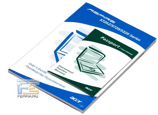 Acer Aspire 5720G: комплектация