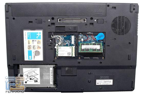 HP Compaq 8710p: днище
