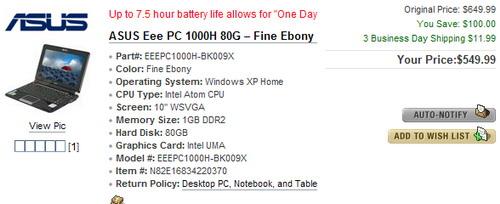 Eee pc 1000 price