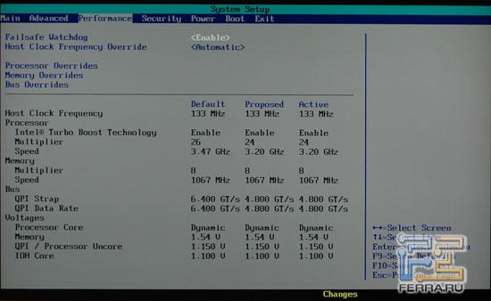 BIOS Intel DX58SO: Performance