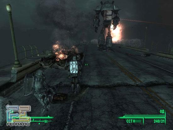 Шагающий робот Братства Стали просто пуленепробиваемый. А еще он постоянно повторяет уморительную фразу: «Демократия – сила, коммунизм – могила»