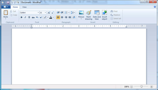 WordPad �� Windows 7