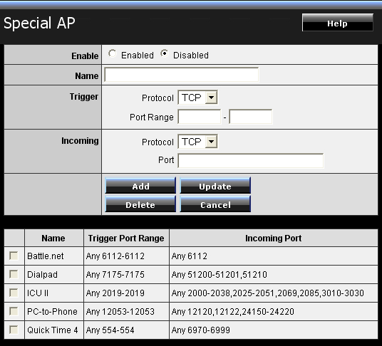 Special AP предназначен для приложений, создающих посредством роутер TRENDNet в то же время невпроворот соединений с интернет-адресами по множеству портов (например, онлайн-игры)