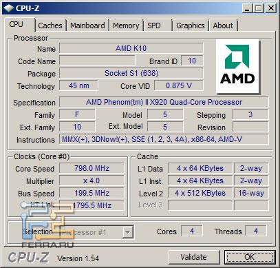 Скриншот CPU-Z AMD Phenom II X920BE в простое