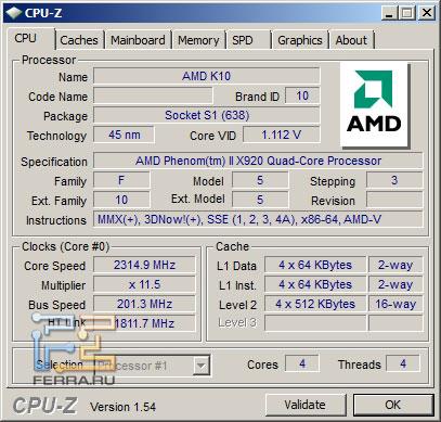 Скриншот CPU-Z AMD Phenom II X920BE под нагрузкой