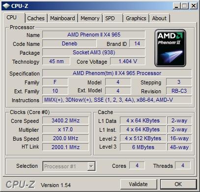 Скриншот программы CPU-Z на плате A9DA-S