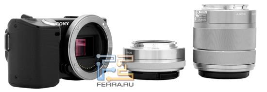 Sony NEX 5 и объективы E 16mm F/2.8 и E 18-55 F/3.5-5.6 отличаются компактными габаритами и небольшим весом