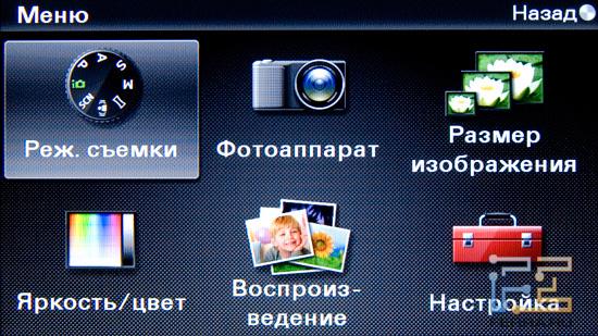Меню Sony NEX 5 разбито на 6 вкладок