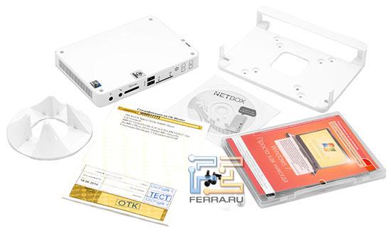 Комплектация WEXLER.Nano 202: сам неттоп, насадка для крепления на задней стенке монитора, компакт-диски, подставка для вертикальной установки