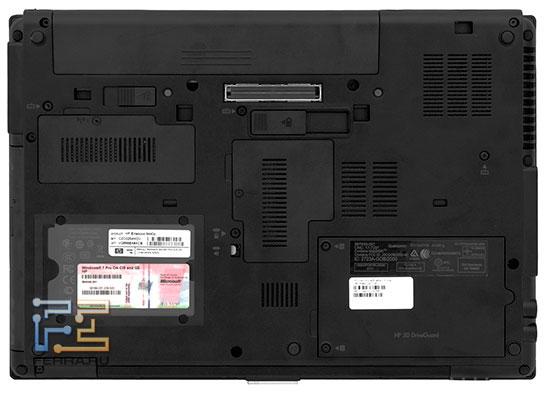 На нижней стороне HP EliteBook 8440p больше функциональных элементов, чем у большинства других ноутбуков