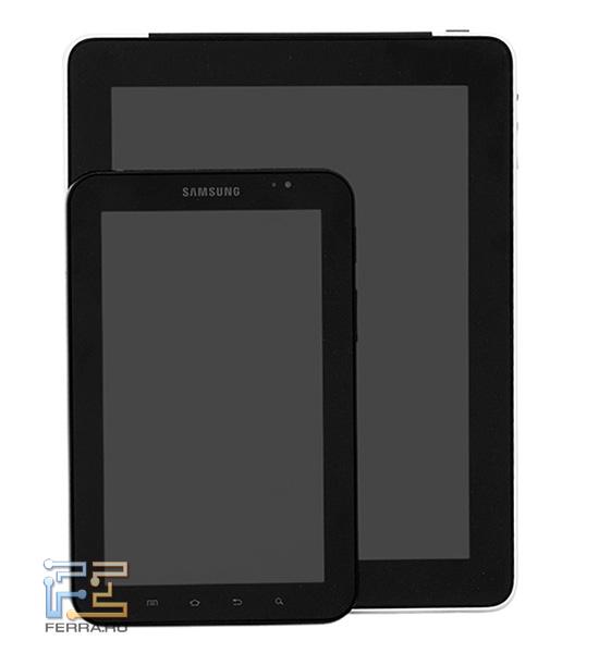 Сравнение размеров Samsung Galaxy Tab и Apple iPad: анфас