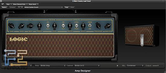 Окно виртуального гитарного усилителя-кабинета Amp Designer