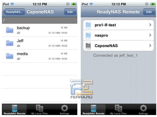 ReadyNAS Remote есть для Windows и Mac OS X, а для мобильных устройств - только для iPhone