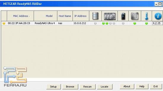 Пиктограммы показывают, что в ReadyNAS Ultra 4 установлено два винчестера, а USB-драйв не подключен