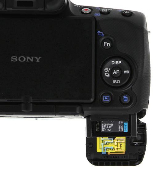 Sony SLT-A33 - отсек для батареи и карты памяти