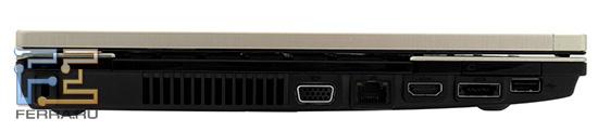 Левый торец HP ProBook 4520s: Kensington Lock, D-SUB, RJ-45, HDMI, eSATA, USB, ExpressCard/34