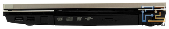 Правый торец HP ProBook 4520s: два USB, лоток оптического привода, разъем питания