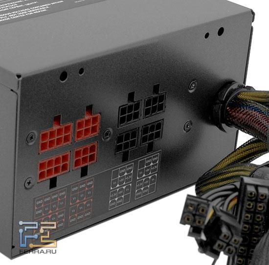 Разъёмы на задней панели БП ETG Premium 850 W
