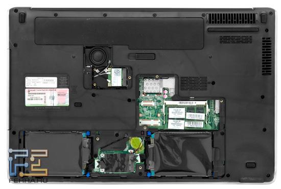 Жесткий диск, оперативная память и карты расширения в разъемах mini-PCIe — всё поддается замене