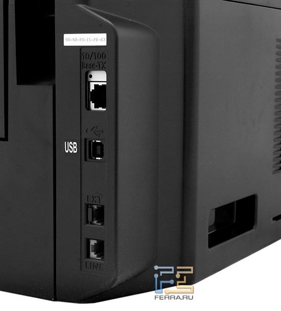 Имеющиеся на поверхности корпуса МФУ разъемы позволяют подключить его к компьютеру, а также к локальной и телефонной сетям