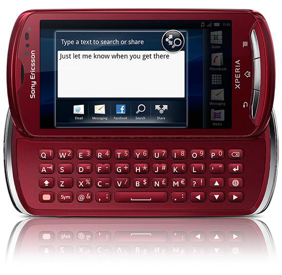 Красная версия Sony Ericsson Xperia Pro в разложенном виде