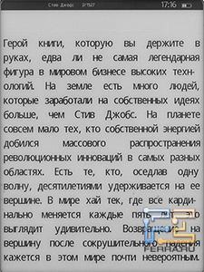 Wexler.Book E5001 в режиме чтения, обычный шрифт