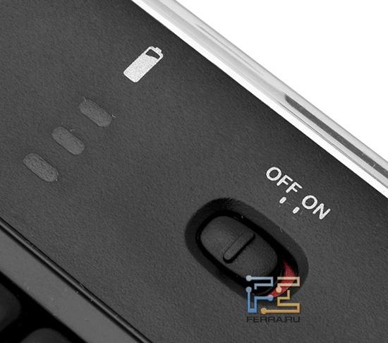 Выключатель и индикатор батареи на корпусе Logitech K800