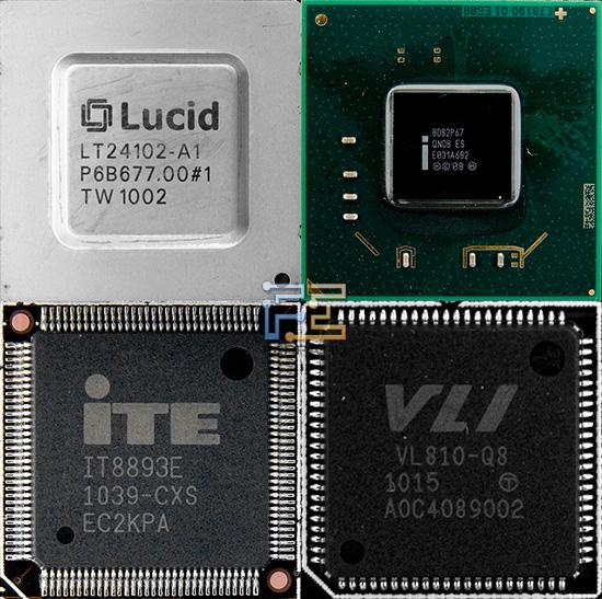 Чип Hydra LT24102, чипсет Intel P67, мост PCI - PCIe и чип VIA VL810-q8