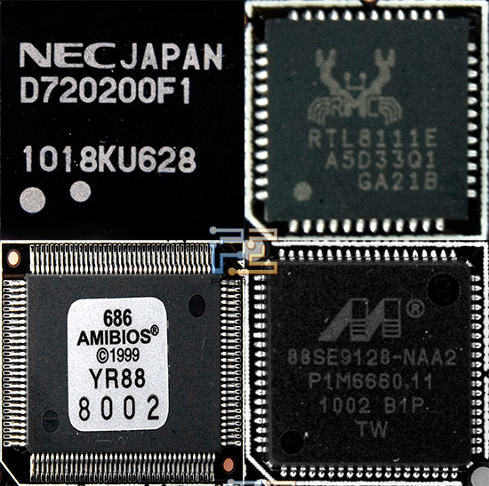 Чипы NEC D720200F1 и Realtec RTL8111E, микросхема BIOS, контроллер Marvell 88SE9128-NAA2