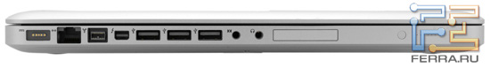 Левый торец Apple MacBook Pro 17: MagSafe, RJ-45, Thunderbolt, FireWire-800, три USB, аудио разъемы, ExpressCard/34