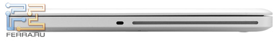 Правый торец Apple MacBook Pro 17: Kensington Lock и оптический привод