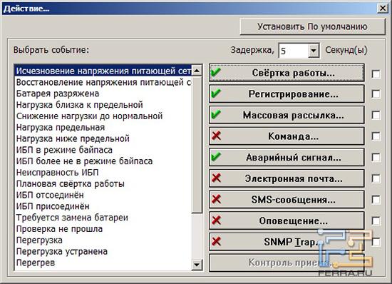 Настройка системы уведомлений UPSentry Smart 2000