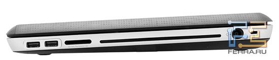 Правый торец HP ENVY 17 3D: Kensington Lock, разъем питания, оптический привод, карт-ридер, два USB