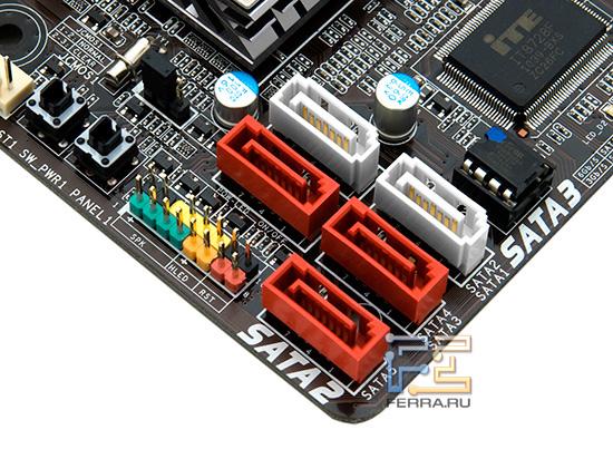 Набор разъемов SATA позволяет подключить только пять накопителей внутри корпуса