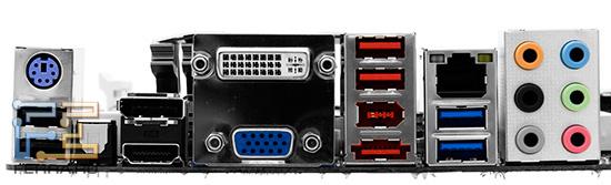 Интерфейсы задней панели платы Biostar TH67XE